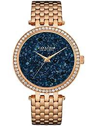 Caravelle New York Rose Gold–Reloj de cuarzo para mujer con esfera analógica Azul Pantalla y oro rosa pulsera 44l186