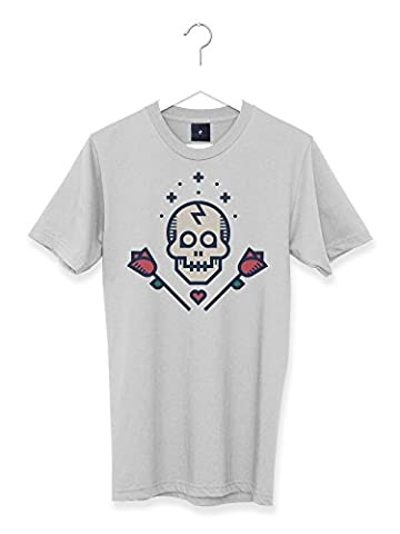 Lovestruck Graphic Skull and Roses Retro Tattoo Men's T Shirt (XL)