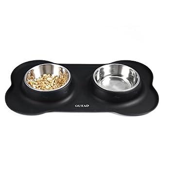 OUTAD Chien Chat Gamelle Double Bol en acier inoxydable pour chiens (L: 700ML)