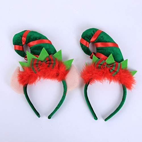Vivianu figli adulti di Babbo Natale elfo cappello capelli anello di chiusura con soffici Bowknot fascia party costume