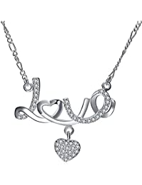Peora Silver Plated CZ Love Message With Heart Charm Pendant Necklace For Women Girls