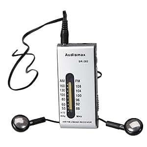 Audiomax SR-202 2-Band FM/AM Pocket Slim Radio Silver