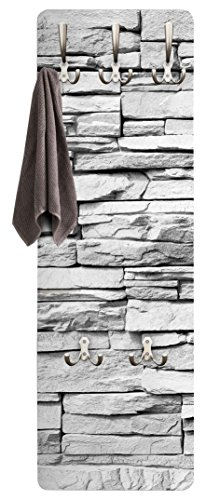 BIlderwelten Garderobenpaneel Weiß - Steinoptik Ashlar Masonry - Garderobe Landhaus | Design Garderobenpaneel Kleiderhaken Flurgarderobe Hakenleiste Holz Standgarderobe Hängegarderobe |139x46cm