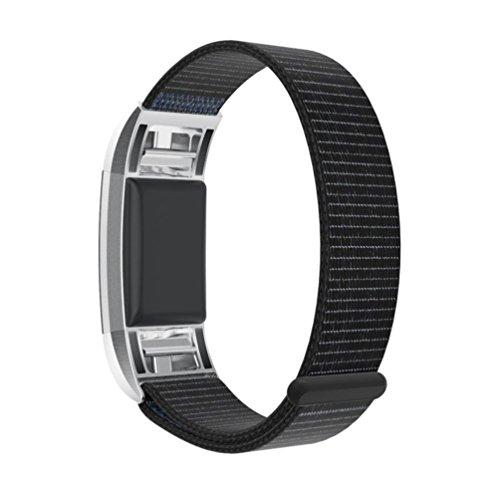 Preisvergleich Produktbild Fitbit Charge 2 armband,  SHOBDW Neuankömmling Luxus Nylon Sport Laufen Uhr Armband Handgelenk Band Strap für Fitbit Charge 2 (130-220MM,  Schwarz)