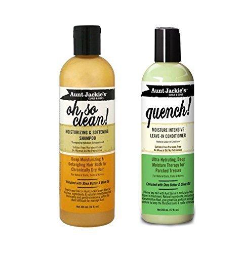 Aunt Jackie's Duo Haarpflege Satz : 1 x Oh So Clean shamopo & 1 x QUENCH! Spülung ohne Ausspülen -