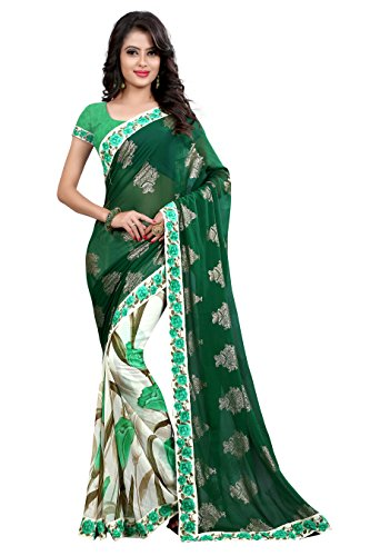 Trade Fashion Women's Clothing Saree For Latest Design Wear Sarees Collection in Georgette Material Latest half and half Saree With Blouse Free Size Beautiful Bollywood saree For Women