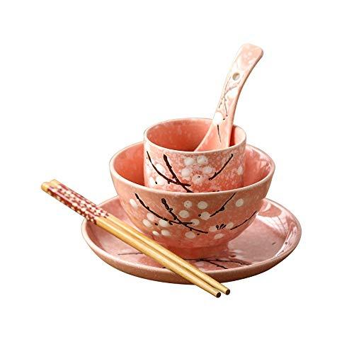RKY Bol- Glaçure de vaisselle unique de style japonais sous la couleur de l'ensemble en céramique de bol de nouilles de riz de table à la maison d'hôtel -5 couleurs facultatives /-/ (Couleur : Pink)