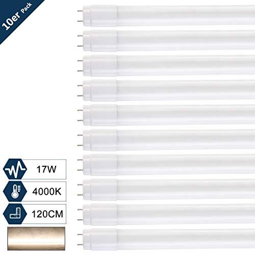 [10er PACK zum Sparpreis] SBARTAR LED Leuchtstoffröhre 120cm Tageslicht Neutralweiß 4000K 17W - Neonröhre Ersatz für T8 Rasterleuchte Bürolampe Deckenleuchte/Leuchtstofflampe 1960lm inkl. Starter