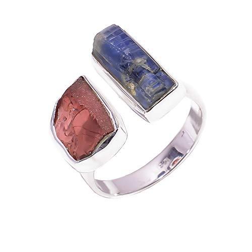 Lavie jewelz anello regolabile in argento sterling 925, granato grezzo naturale, pietra cianite blu, rsr3014 e argento, 15,25, cod. rsr3014