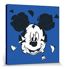 Idea Regalo - 1art1 Topolino - Ritratto Artistico Disney, Specchio Rotto Stampa su Tela (40 x 40cm)