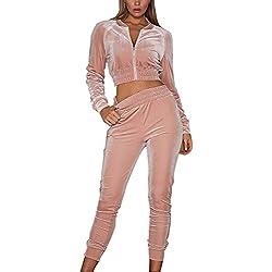 Minetom Mujeres Chándales Con Capucha Pantalones Basculador Sudadera Chaqueta Trajeses Suit Rosa ES 38