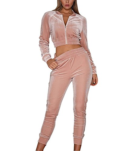 Minetom Femmes Velours Ensemble Survêtement Manche Longue Veste Blouson Sweat-Shirt à Capuche Jogging Pantalon Sports Suits 2pcs Rose FR 40