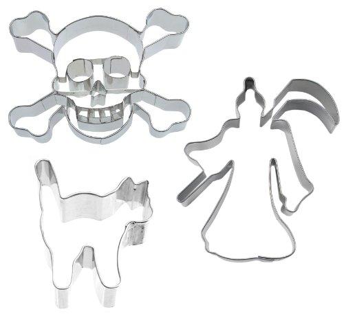 (Caleidolex Ausstechset Halloween 'Spooky 6' Grusel 3er-Set - Sensenmann - Katze - Totenkopf - Keksausstecher - Ausstecher - Ausstechform)
