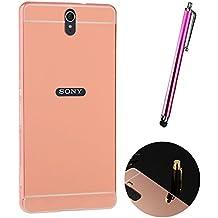 Funda Espejo Aluminio Metal Carcasa para Sony Xperia C5 Ultra Color Rosado