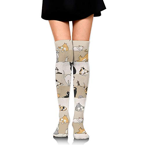 Jxrodekz Cat and Mouse Compression Socks Foot Long Stockings Knee High Socks for Men Women Supports Sport Running Cycling Football Slim Leg Travel Medical Nursing