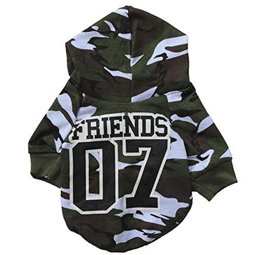 XGPT Hundebekleidung Haustier Kostüm 07th Soldat attackiert Tarnkleid Kapuze Hemd,XS
