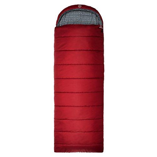 Deckenschlafsack Justcamp Melvin, Hüttenschlafsack, Schlafsack XL, 225 x 80 cm (LxB) 3 Jahreszeiten, Farbe Rot