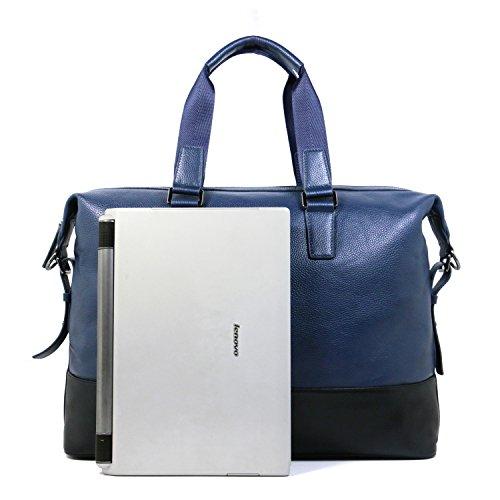 Eug vacchetta cartella ufficio borsa viaggio in pelle documento borsetta blu navy Briefcase (Navy Blue) 46 x 15 x 36 cm Briefcase (Navy Blue)