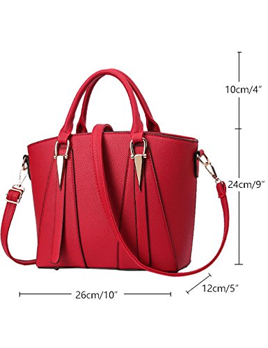 Menschwear Leather Tote Bag lucida PU nuove signore borsa a tracolla Vino Rosso Vino Rosso