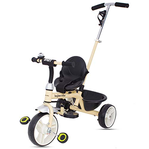 BAYBEE Blazer 2 in 1 Convertible Baby Tricycle with Parental Adjust Push Handle with Seat Belt for Boys & Girls (Gold)