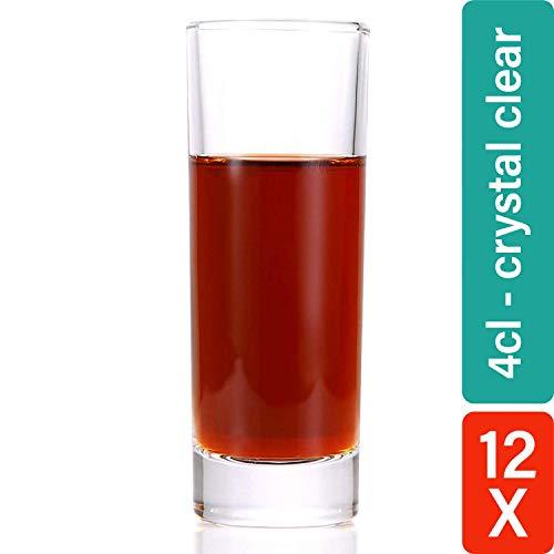 STAR - LINE 12 Schnapsgläser Shotgläser Hoch 4cl - Dickes Glas - Standfest - Spülmaschinenfest - Glasklar