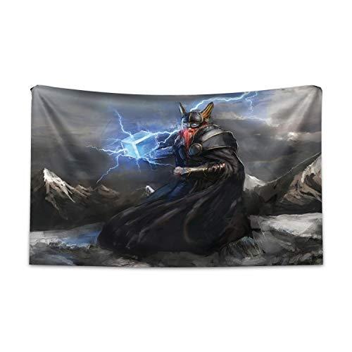 ABAKUHAUS Vikingo Tapiz de Pared y Cubrecama Suave, Thor Mjolnir Y Trueno, Estampado Digital Vívido, 230 x 140 cm