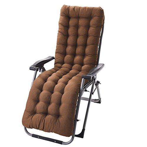 Chaise Lounge Kissen Mit Krawatten, Gesteppter Futon Rocking Stuhl Seat dämpfung Für die terrasse Garten Indoor Outdoor Sonnenliege matratze-Kaffee 155x48cm(61x19inch) -