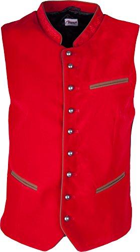 Almwerk Herren Trachten Samt Weste Gilet in vielen Farben, Größe:56;Farbe:rot