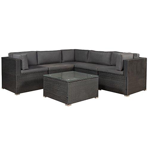 ArtLife Polyrattan Gartenmöbel Lounge Sitzgruppe Nassau (Schwarz) mit Bezügen in Dunkelgrau
