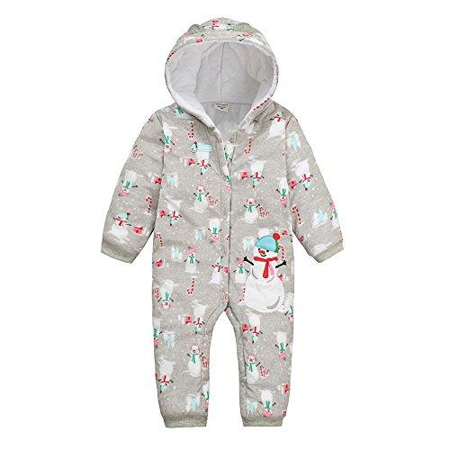 Infant Unisex bambino maniche lunghe in cotone pagliaccetto di Natale pupazzo di neve tuta da pigiama abbigliamento Grey 6 Mesi