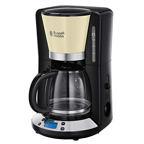 Russell Hobbs Digitale Kaffeemaschine Colours+ creme, programmierbarer Timer, 1,25l Glaskanne, bis 10 Tassen, Warmhalteplatte, Abschaltautomatik, 1100W, Filterkaffeemaschine 24033-56