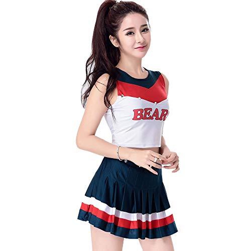 CLOTHES Ärmelloses Cheerleader-Kostüm für Frauen, Studenten Basketball Babyfußballclub Bar ds Kostüme, A-Wort-Rock + Weste geteilt, Für Halloween/Cosplay/Tanzwettbewerb (Basketball Kostüm Für Jungen)