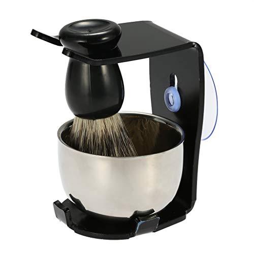 LXHSY Rasierpinsel-Set Rasierrahmen-Basis + Rasierseifenschale + Haarrasierpinsel Rasierpinsel-Reinigungswerkzeug, Borsten Mit Saugerpinsel-Set, Persönliches Reinigungs-Haarschneidewerkzeug