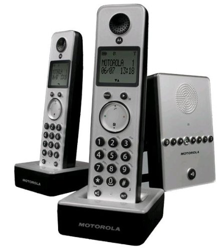 Lenovo D712 Twin Schnurloses DECT-Telefon mit zusätzlichem Mobilteil und blau beleuchtetem Display Silber/schwarz Twin-dect-telefon