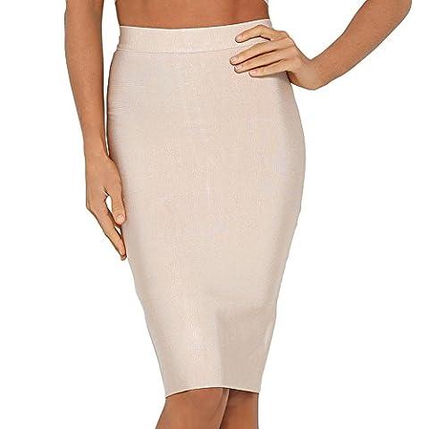 HLBandage High Wait Knee Length Rayon Bandage Skirt(M,Nu)