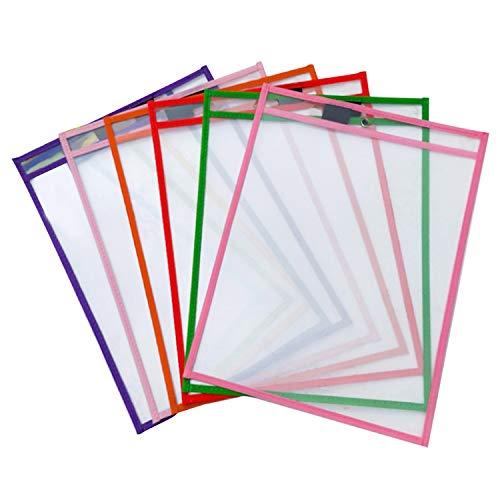 6 STÜCKE Wiederverwendbare PVC Dry Erase Taschen Ärmeln Blatt Protektoren mit Stifthalter für Kinder Kinder Studenten Schule Klassenzimmer Mischfarbe