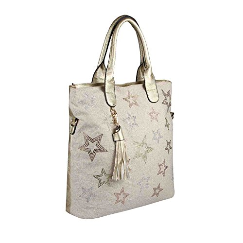 OBC Only-Beautiful-Couture, Borsa tote donna beige Beige-Gold 38x37x13 ca.: 38x37x13 cm (BxHxT) Beige-Gold 38x37x13