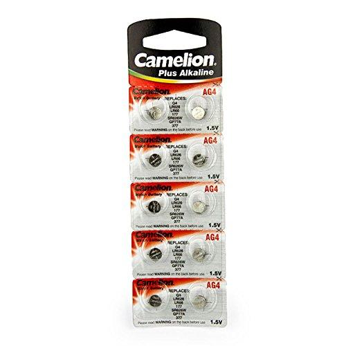 Camelion AG4 / LR66 / 177 / 377 / LR626 Knopfzelle Alkaline Alkali Batterie, 10-er Pack, Lange Haltbarkeit (Haltbarkeitsdatum markiert)