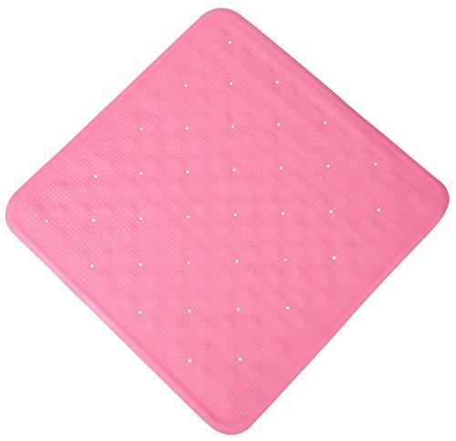 Exerz EXSM011 Square Anti-Rutsch-Duschmatte 55 x 55 cm - Mit Saugnäpfen - Naturkautschuk Rutschfestes Design für Badezimmer, Duschraum, Nasszelle, B & B - Für Kinder, Senioren, Baby, Familienmitglieder, Rutschfest - Pink