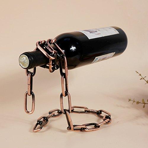 Pro Magic Chain Weinflaschenhalter Neuheit rot Wein Flasche Rack 3D Floating Stahl Kette Ständer,...