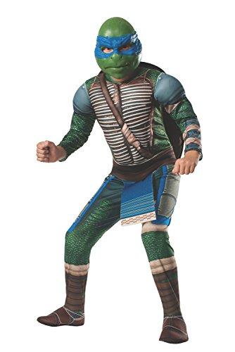 Kind Deluxe Ninja Leonardo Kostüm - Ninja Turtles Leonardo Deluxe Kostüm für Kinder mit Polsterungen (110-122)
