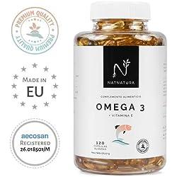 Omega 3+Vitamina E. Alta dosis de ácidos grasos Omega 3, 2000mg.Alta concentración de EPA-DHA.Efecto antiinflamatorio y antioxidante. Complemento alimenticio a base de aceite de pescado. 120 cápsulas.