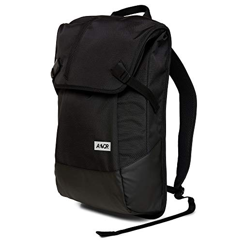 AEVOR Daypack Proof Black - Rucksack für die Uni und Freizeit Inklusive Laptopfach und erweiterbar auf 28 Liter