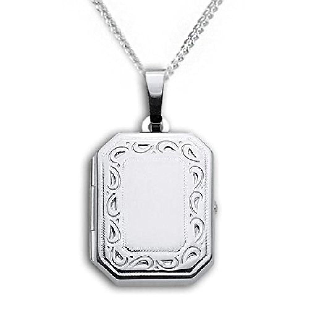 Medaillon rechteckig 925 Silber hochglanz verziert zum Öffnen für Bildereinlage 2 Fotos Amulett mit Kette 42 cm 925 Silber Verzierung Randverzierung. Von Haus der Herzen®
