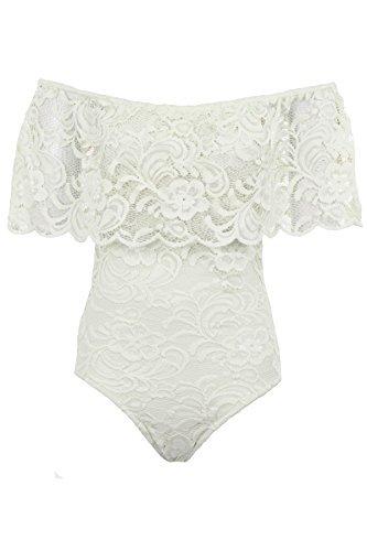 Fantasia Boutique Damen Schulterfrei Rüsche Rüsche Blumen Spitze gefüttert Bardot Bodycon Turnzug Bodysuit Weiß