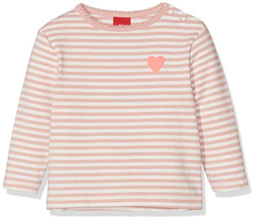 s.Oliver Baby-Mädchen 65.908.31.7495 Langarmshirt, Rosa (Dustypink Knitted Stripes 42g4), (Herstellergröße: 80)
