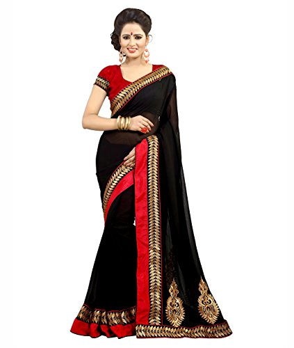 Anshika Lifestyle Chiffon Black Designer Embroidered Classy Elegant Partywear Saree  available at amazon for Rs.1050