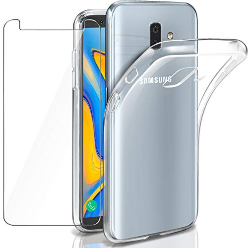 Leathlux Samsung Galaxy J6 Plus Hülle + Panzerglas, Samsung J6 Plus Durchsichtig Case Transparent Silikon TPU Schutzhülle Premium 9H Gehärtetes Glas für Samsung J6 Plus