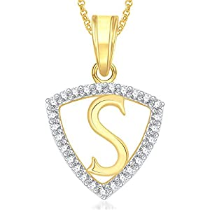 Valentine Gifts MEENAZ Gold Plated 'S' Letter Pendant Locket Alphabet Heart for Men and Women.