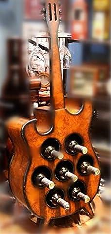 YANFEI Casier à vin Porte-vaisselle en forme de guitare en bois Étagères d'affichage multifonction de style européen classique pour 7 bouteilles de vin et 2 verres à vin